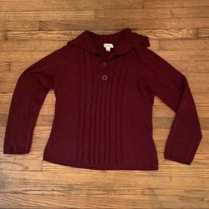 Soft and Comfy Burgundy Pullover Sweater w Cowl
